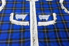 Cab curtains in Ramsay (New Blue) tartan.with white bullion. Embroidery taken from photo of artwork on customers truck