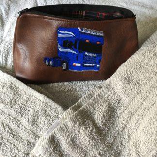 wash bag, embroidered wash bag, leather wash bag, whiterig wash bag
