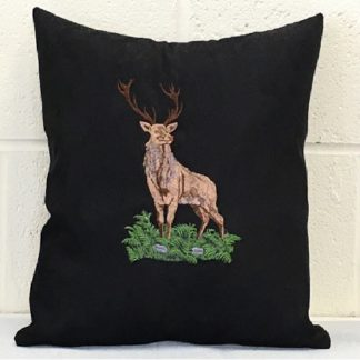 stag, cushion, suede, embroidered, whiterig cushion
